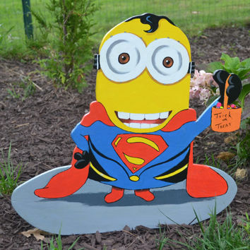 Halloween  Minion in a superman costume lawn art yard stake