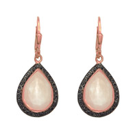 Drop Rose Quartz Earrings Set In Rose Gold Plated Sterling Silver Surrounded By Black Spinel