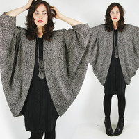 vtg 80s avant garde black white lace print button up shirt COCOON batwing dolman sleeve DRAPED KIMONO jacket tunic mini dress top S M L