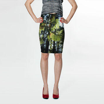 Pine Tree Fitted Skirt, Fall Clothing, Knee Length Skirt, Womens Clothing, Nature Skirt, Printed Skirt, Leaf Skirt Tree Skirt Scenic Skirt