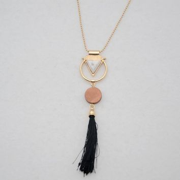 2017 New Round Wood elements white triangle stone circle sweater chain tassel necklace