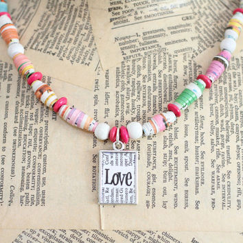 Recycled Paper Bead Necklace, Handmade with Recycled Children's Book, Colorful Statement Necklace With Love Charm