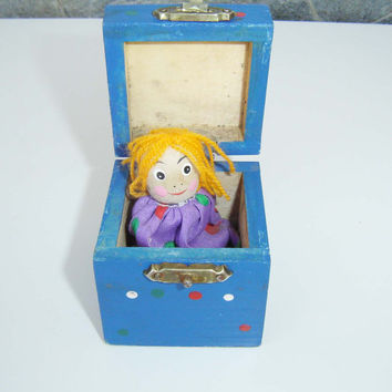 Vintage Magic wooden box with a Doll, Game for Girls, collectors, 80s,Toy