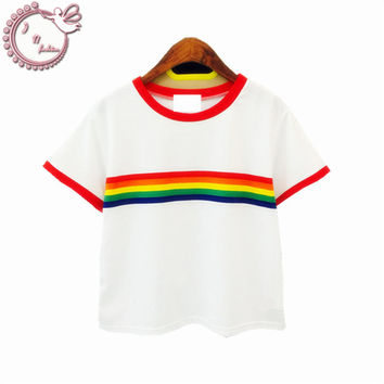 rainbow Stripe woman t shirt slim tees all-match cotton short-sleeve o-neck harajuku T-shirt women top Women's Clothing