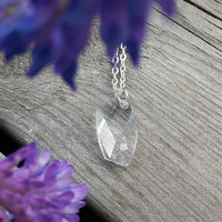 Avant-garde Swarovski pendant Necklace, Swarovski crystal necklace, clear crystal jewellery