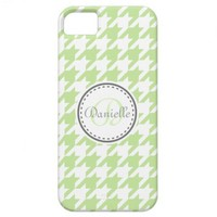 Grey Green Mint Houndstooth Monogram Pattern from Zazzle.com