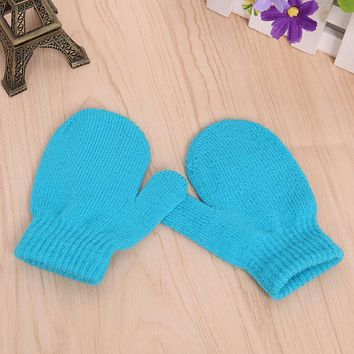 Baby Kids Boys Girls Unisex Knitting Warm Soft Gloves Candy Colors Mittens