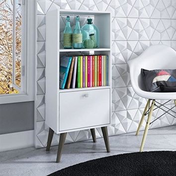Sophisticated Sami Double Bookcase with 2 Open Shelves and 1- Drawer in White