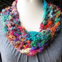 Bright jewel-colors crocheted sari yarn short infinity scarf cowl