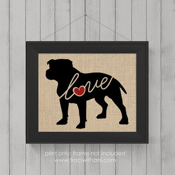 "Pitbull ""Pittie"" Love (Option 2 - Undocked) - Burlap or Canvas / Wall Art Print for Dog Lovers: Great Gift / Personalized (Free Shipping)"