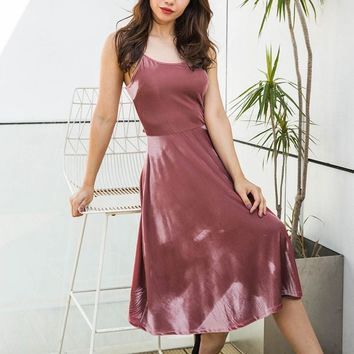 2018 New Arrival Spaghetti Strap Velvet Dress Back Cross-criss Tied High Waist Bohemian Dress