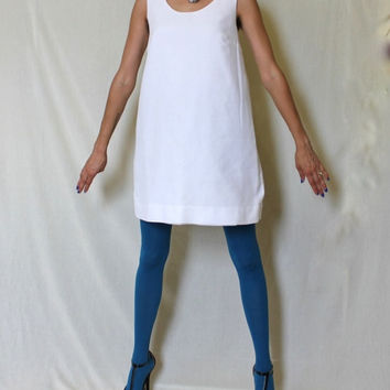 90s Shift Dress Vintage Minidress Mod White XL Women Tank Sleeveless Tunic Vogue A-line Minimalist