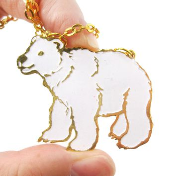 Polar Bear Shaped Enamel Animal Pendant Necklace | Limited Edition