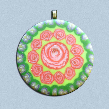 EyeGloArts Dogwood and Red Roses Glow in the dark millefiore Flower Pendant Necklace No907.903