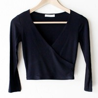 Wrap Front Crop Top - Black