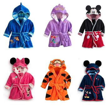 Baby Boys Robe For Girls 2018 Children's bathrobe Minnie Mickey Soft Velvet Robe Pajamas Coral  Baby Kids Warm Clothes 2-6Y