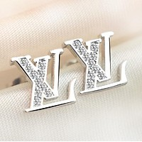 Louis Vuitton LV Women Fashion New Diamond Letter Earring Accessories Silver