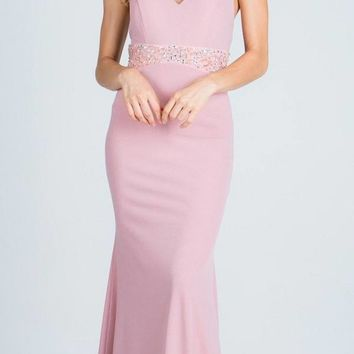 Blush V-Neck Halter Evening Gown Beaded Waist