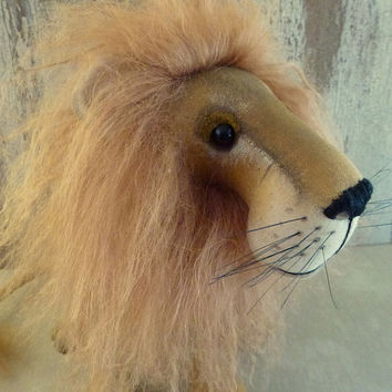 Lion, Aslan inspired by The Lion, The Witch and The Wardrobe: soft sculpture animal, artist bear.
