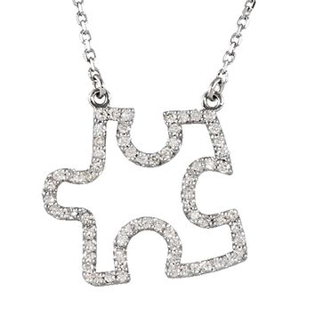 1/3 cttw Diamond Puzzle Piece 16 1/2 Inch Necklace in 14k White Gold