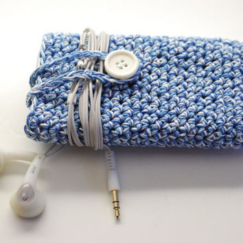 Blue Speckled Cell Phone sleeve, iPhone bag, iPhone cover, iPhone case, iPod cozy