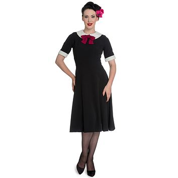 Hell Bunny Prep-school Style Black Short Sleeve Burgundy Bow Tie Dress
