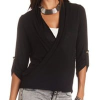 Oversized Twisted Hem Wrap Top by Charlotte Russe