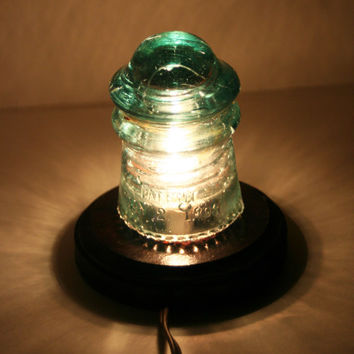 Aqua Teal 1890s Hemingray Number 9 ~ Antique Insulator Night Light, Upcycle Desk Lamp ~ Sharp Drip Points, Wrinkles & Bubbles