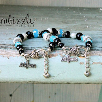 Air Force, Air Force bracelet, Air Force wife gifts, USAF jewelry, Air Force gifts, I love my Airman