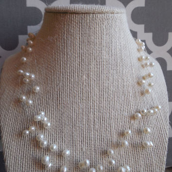 "8"" Lia Sophia Faux Pearl Tear Drop Necklace"