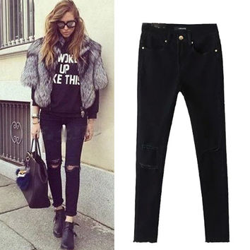 Strong Character Ripped Holes Skinny Pants Stretch Jeans [4919028548]