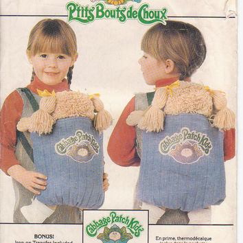 Pattern for Cabbage Patch Kids quilted doll backpack or front doll carrier Butterick 6662 CUT and COMPLETE