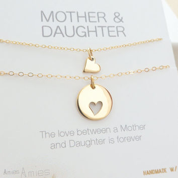 Mother Daughter Necklace - Mother Daughter Jewelry - Mother Daughter Gift - Delicate Necklace - Delicate Jewelry - One Daughter // GOLD