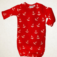 Anchor Away Newborn Infant Baby Boy Gown
