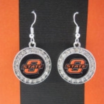 Colliegiate Jewelry OSU Earrings with Crystals