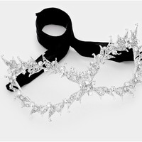 Pasha Filigree Cat Eye Masquerade Mask | Crystal | Silver
