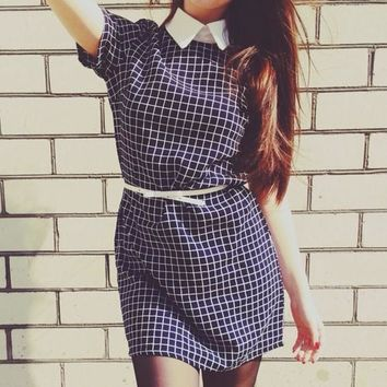 Black Plaid Print Peter Pan Collar Short Sleeve Loose Cute Mini Dress