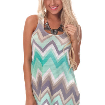 Mint Multi Chevron Tank