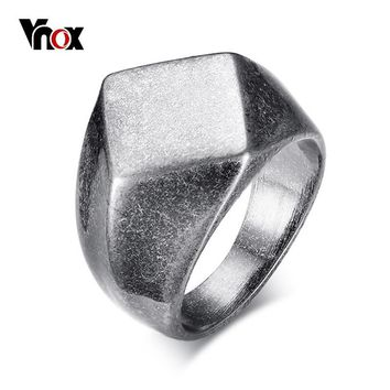 Vnox Punk Chunky Flat Rhombus Top Thumb Ring For Men Fraternal Band Stainless Steel Retro Viking Male Jewelry Rock Hiphop Bijoux