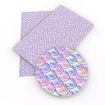 Purple & pink mermaid scale faux leather fabric sheet