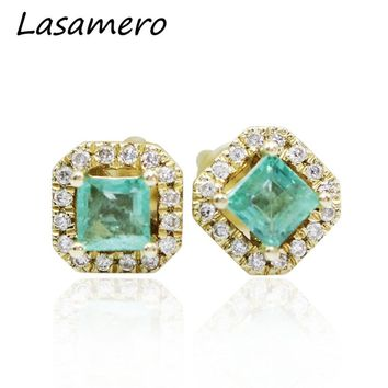 14KT Yellow Gold 0.42CTW Natural Square Cut Emerald Gemstone