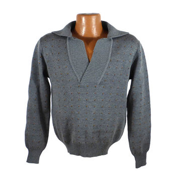 Wool Sweater Vintage 1980s  Shawl Polo Collar Pullover Men's Gray Astan Leonti
