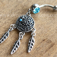 Dream catcher Belly Button Rings,  blue turquoise, Silver Feathers Navel Jewelry Piercing