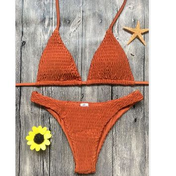 Sexy Pleated Edge pure Orange two piece low chest halter back knot swimsuit