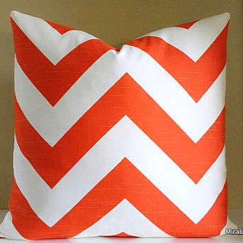 Halloween Orange Wide Chevron Pillow Cover - 20x20 Pillow Cover