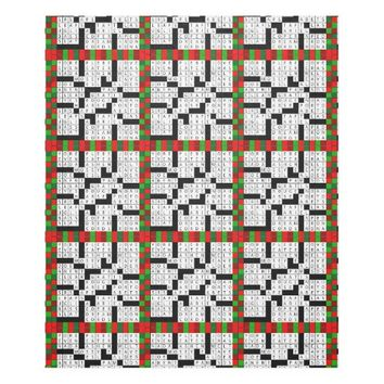 Crossword Puzzle Design on Fleece Blanket