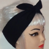 Hair- wrap Black Rockabilly Pin-up Vintage Retro Style Head scarf Wrap Tie