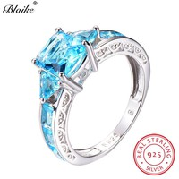 Blaike Unique Aquamarine Square Rings For Women 925 Sterling Silver Light Blue Crystal Zircon Birthstone Ring Female Jewelry
