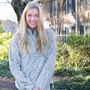 Monmouth Flurry Fleece 1/4 Zip in Tan and Slate by Southern Marsh
