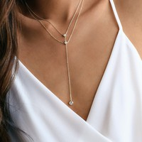 Bijoux Gold Rhinestone Drop Necklace